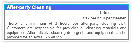 After Party Cleaning Fulham prices