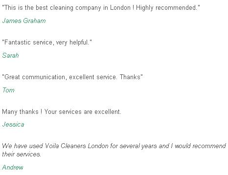Feedback Fulham cleaners