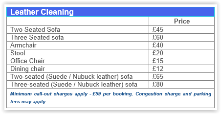 Leather cleaning prices Fulham